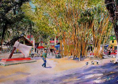 El Parque del Hacha de Villavicencio acuarela